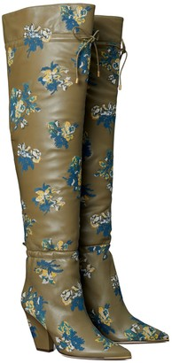 Tory Burch Lila Embroidered Over-the-Knee Scrunch Boot