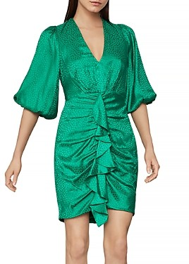 BCBGMAXAZRIA Balloon Sleeve Ruffled Dress