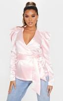4fashion Pink Satin Puff Sleeve Wrap Blazer