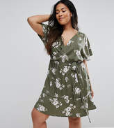 New Look Plus New Look Curve Floral Wrap Dress