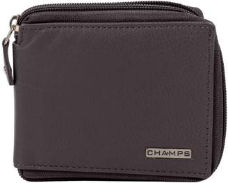 Champs RFID Leather Zip-Around Wallet