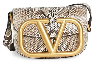 Valentino Small Supervee Python Saddle Bag