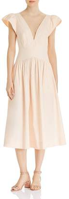 Rebecca Taylor Plunging Puff-Sleeve Dress