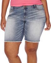 Arizona Raw-Edge Denim Bermuda Shorts - Juniors Plus