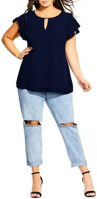 City Chic Sweet Waterfall Top (Plus Size)