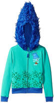 Asstd National Brand Trolls Girls Branch Costume Hoodie with Printed Applique Patch and Faux Fur Hood