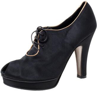 Fendi Black Satin Platform Peep Toe Lace Up Ankle Booties Size 37