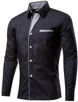 BSNQA Mens Slim Fit Cotton Flannel Tailored Dress Shirt (2XL, )