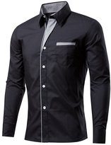 BSNQA Mens Slim Fit Cotton Flannel Tailored Dress Shirt (L, )