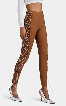 Area Women's Crystal-Embellished Wool-Blend Trousers - Brown