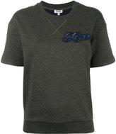 Kenzo logo patch short sleeve sweatshirt - women - Cotton/Nylon/Polyester - S