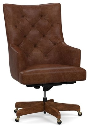 Pottery Barn Radcliffe Tufted Leather Swivel Desk Chair