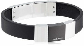Calvin Klein Men's Strong Black Leather Adjustable Bracelet