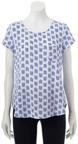 Trixxi Juniors' Button-Back Woven T-Shirt
