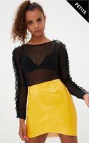 PrettyLittleThing Petite Black Mesh Frill Sleeve Bodysuit