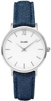Cluse Women's 33mm Blue Denim Band Steel Case Quartz White Dial Watch Cl30030