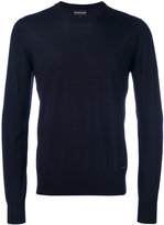 Emporio Armani crew-neck jumper - men - Leather/Wool - S