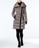 Vera Wang Velvet-Trim Asymmetrical Down Puffer Coat
