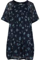 Current/Elliott The Raglan Tee Gathered Floral-Print Cotton-Broadcloth Mini Dress