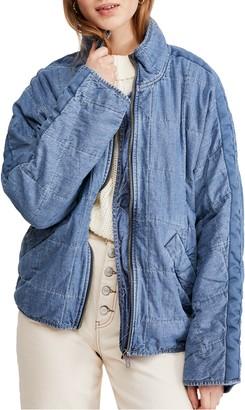 Free People Dolman Sleeve Quilted Denim Jacket