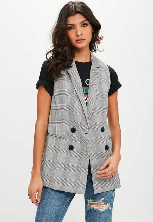 Missguided Gray Plaid Sleeveless Jacket