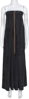 Diane von Furstenberg Diane Von Frustenberg Black Coated Silk Strapless Maxi Dress M
