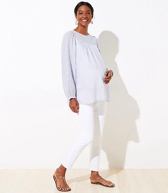 LOFT Maternity Skinny Crop Jeans in White