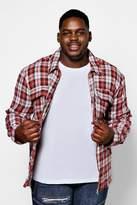 boohoo Big And Tall Long Sleeve Flannel Shacket
