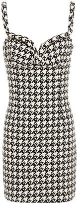 Area Open-back Wool-blend Jacquard Mini Dress