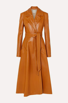 A.W.A.K.E. Mode Belted Faux Leather Coat - Orange