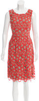 Lela Rose Linen Embroidered Dress