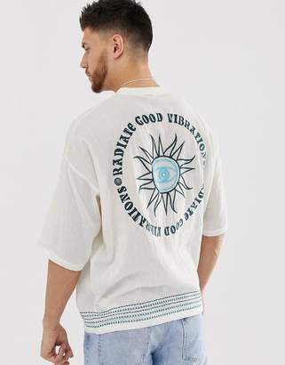 Asos Design DESIGN oversized linen t-shirt with embroidery design and embellishment-White