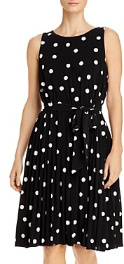 T Tahari Pleated Polka Dot Tie-Waist Dress