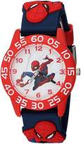 Marvel Boy's 'Spider-Man' Quartz Plastic Casual Watch, Color:Blue (Model: WMA000169)