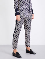 Victoria Victoria Beckham Woven-stripe slim-fit mid-rise silk-twill trousers