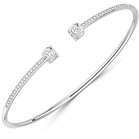 Dinh Van 18K White Gold Le Cube Diamant Medium Bangle Bracelet with Diamonds