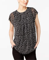 Alfani Petite Printed Pleated Top, Created for Macy's