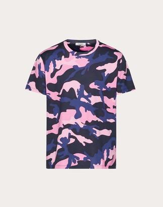 Valentino Camouflage T-shirt Man Navy Camo/pink Cotton 100% L