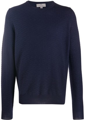 Canali Patterned Crew Neck Sweater
