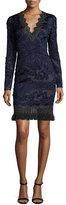 Elie Tahari Camden Long-Sleeve Lace Dress w/ Fringe Hem, Navy