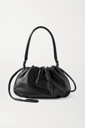 Gu_de Bonnie Reversible Gathered Leather And Velvet Tote - Black