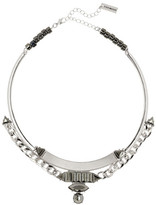 Steve Madden Hematite Faceted Stone Chain Collar Necklace