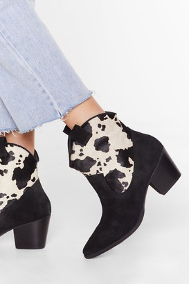 Nasty Gal Womens Cow Does It Feel Suede Pony Hair Boots - Black