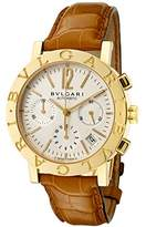 Bulgari Men's Mechanical/Automatic Chronograph Off White Dial Brown Crocodile