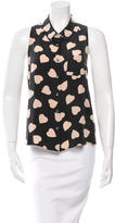 Equipment Heart Print Silk Top
