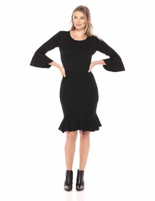 Sandra Darren Women's 1 PC 3/4 Bell Sleeve Sheath Flounce Sweater Dress