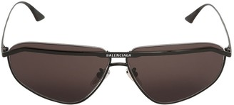 Balenciaga 0081s Bridge Squared Metal Sunglasses