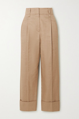 Brunello Cucinelli Cropped Pleated Gabardine Pants - Beige