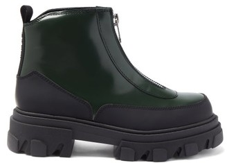 Ganni Zipped Topstitched Patent-leather Boots - Dark Green