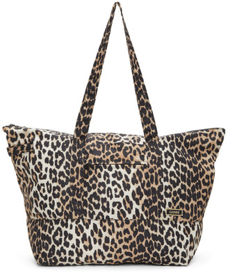 Ganni Brown Leopard Recycled Tech Fabric Tote